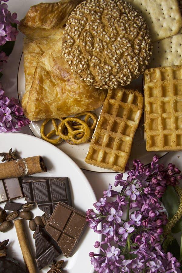 Koekjes en chocolade 05 stock afbeelding