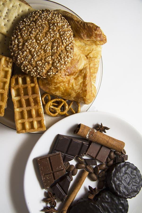 Koekjes en chocolade 01 royalty-vrije stock foto