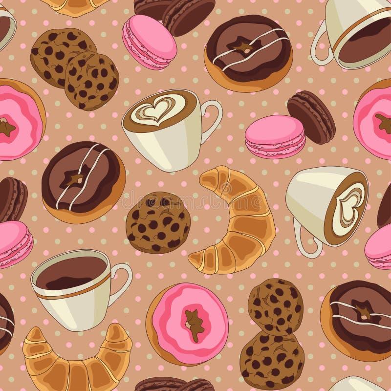 Koekjes en lichtbruin koffiepatroon, stock illustratie
