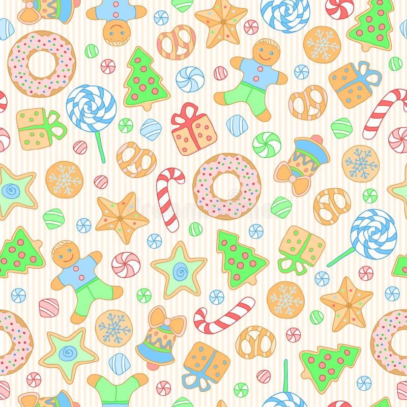 Koekjes naadloos patroon royalty-vrije stock afbeelding
