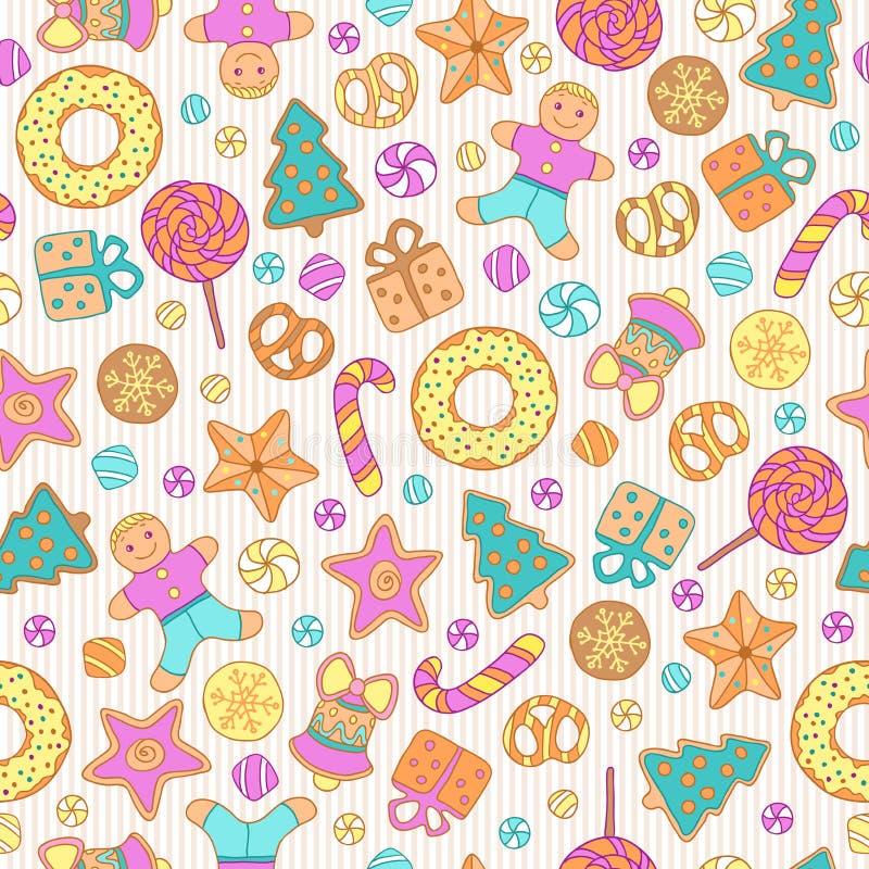 Koekjes naadloos patroon stock afbeeldingen