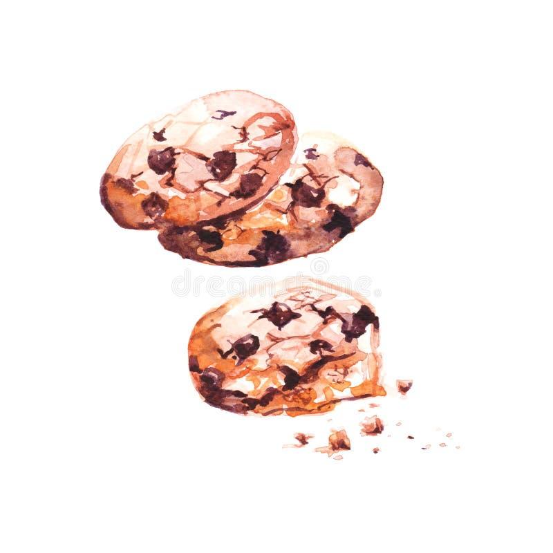 Koekjes van de Watercolour de hand geschilderde chocolade stock illustratie