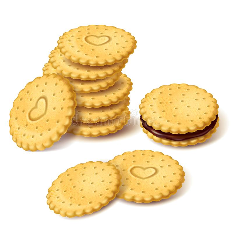 Koekjeskoekjes of cracker met roomvector stock illustratie