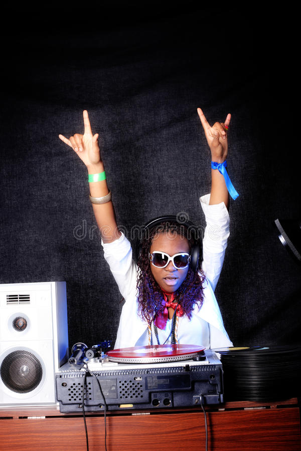 Koel afro Amerikaans DJ royalty-vrije stock afbeeldingen