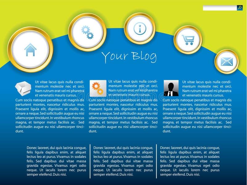Koel blauw websitemalplaatje met gouden ringen stock illustratie