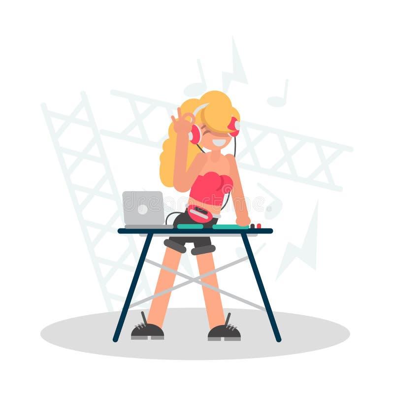 Koel blonde DJ achter de vlakke illustratie van de consolekleur royalty-vrije illustratie