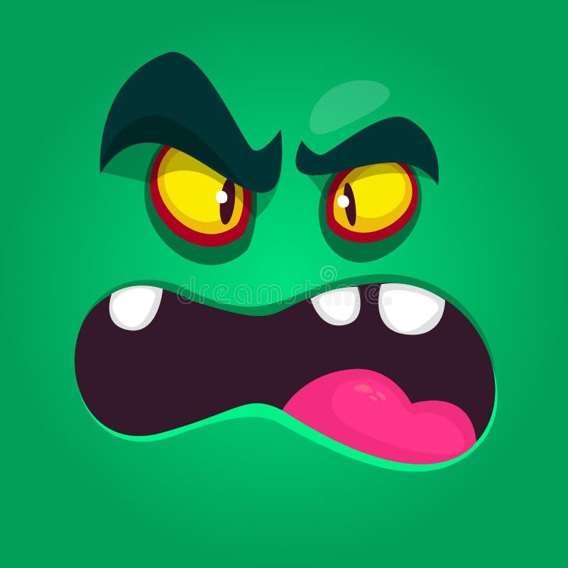 Koel boos beeldverhaalmonster Vectorhalloween-monsteravatar voor druk Geïsoleerde illustratie vector illustratie