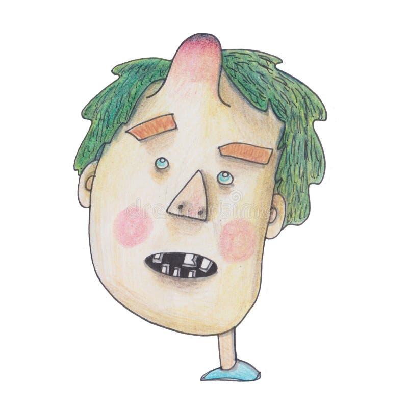 Koel de illustratie van de jongen voor uw afdruk, sticker op een witte achtergrond vector illustratie