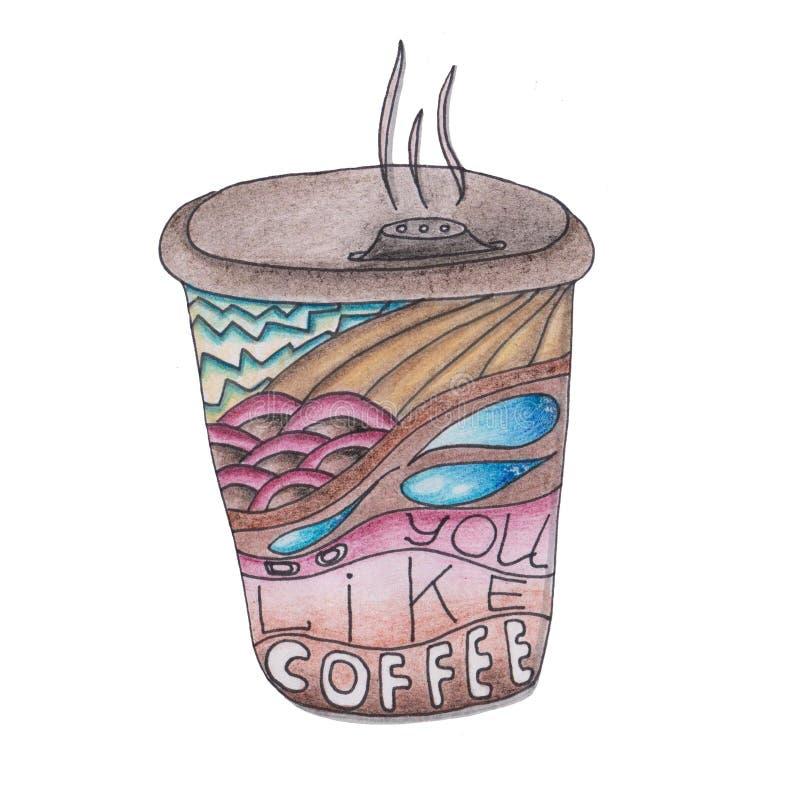 Koel de illustratie van koffie voor uw afdruk, sticker vector illustratie