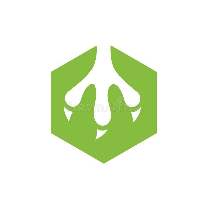 Koel Dierlijke die Klauw met Groene Hexagon, Vectorillustratie wordt gecombineerd vector illustratie