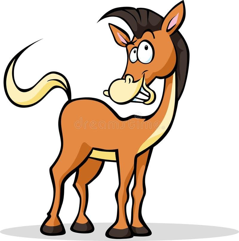 Koel grappig en paardbeeldverhaal die bevinden zich glimlachen royalty-vrije illustratie