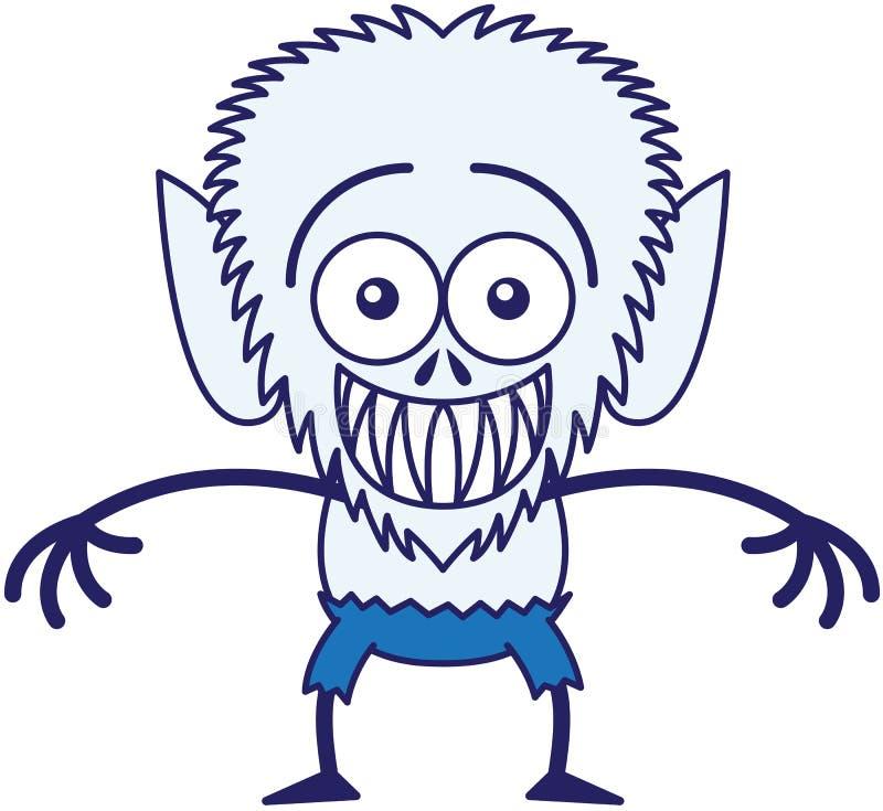 Koel Halloween-weerwolf grijnzend terwijl pijnlijk gevoel royalty-vrije illustratie