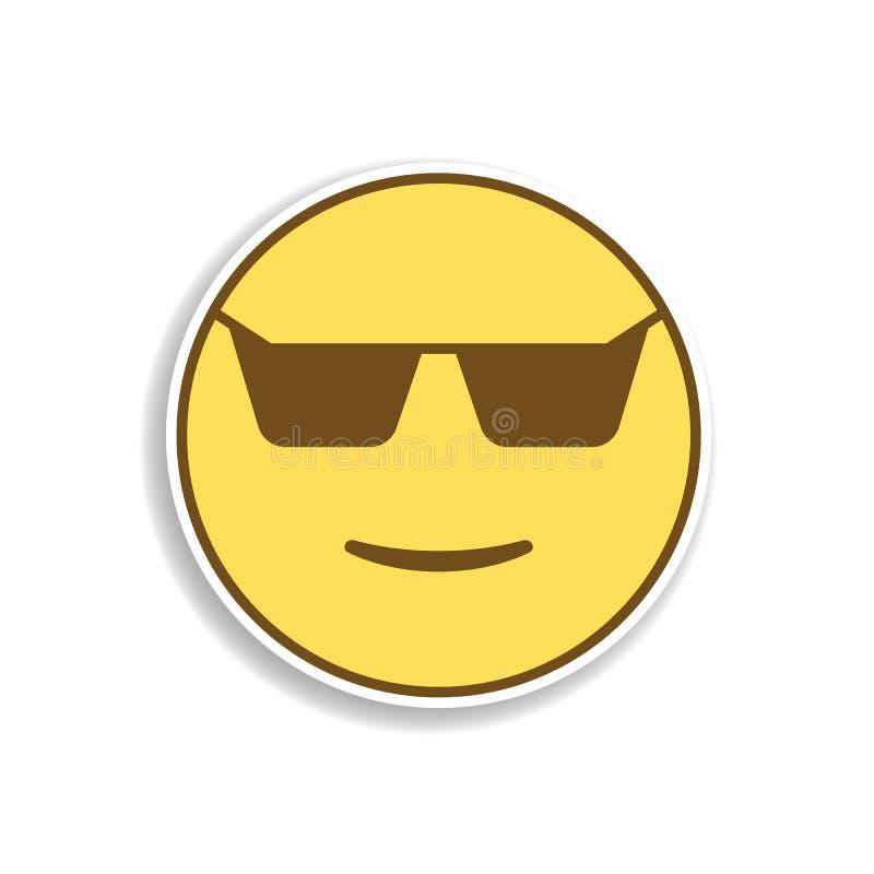 koel in het zonnebril gekleurde pictogram van de emojisticker Element van emoji voor mobiele concept en webtoepassingenillustrati royalty-vrije illustratie