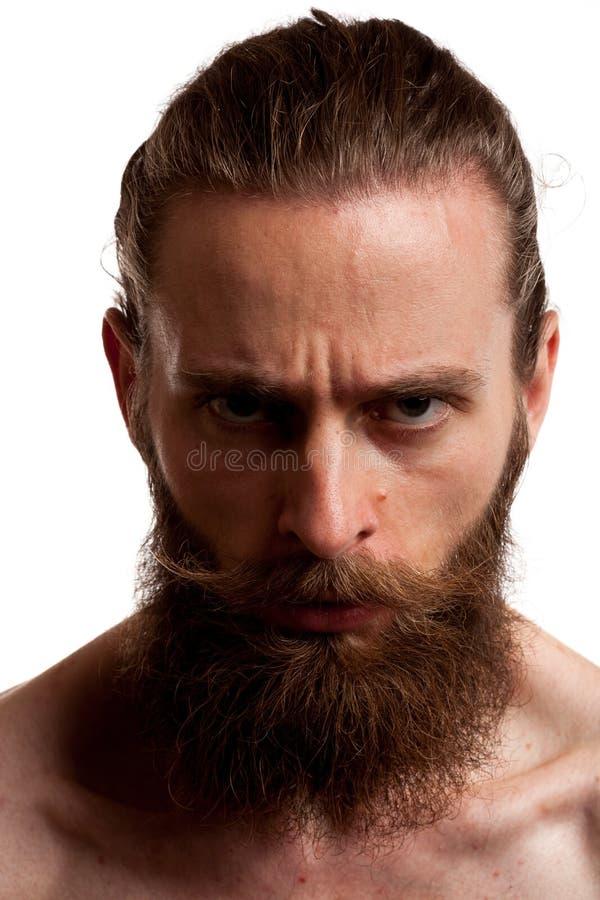 Koel hipster kerel met lange baard over witte achtergrond royalty-vrije stock afbeelding