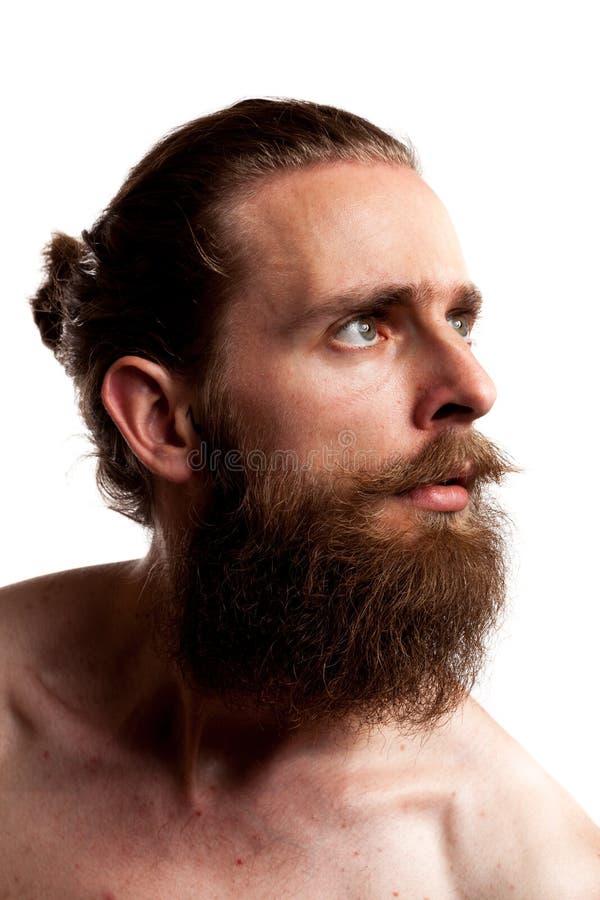 Koel hipster met lange baard die over witte achtergrond wordt geïsoleerd royalty-vrije stock fotografie