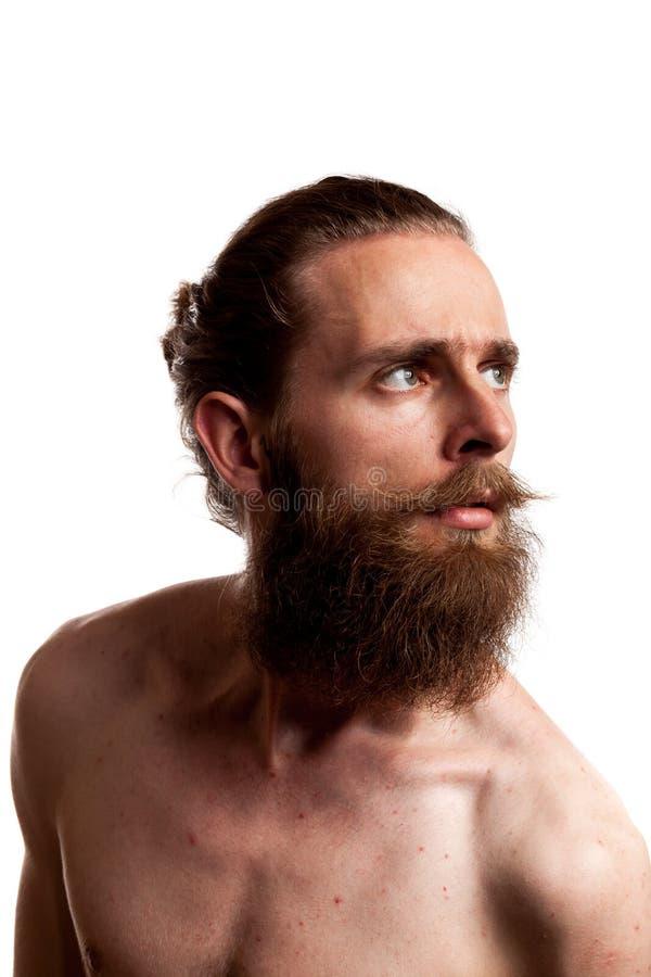 Koel hipster met lange baard die over witte achtergrond wordt geïsoleerd royalty-vrije stock afbeelding