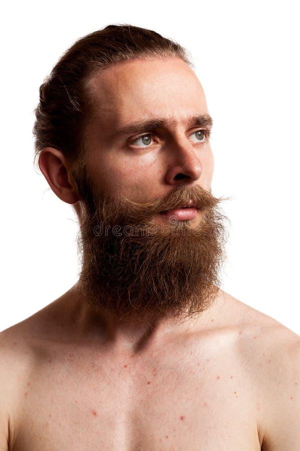 Koel hipster met lange baard over witte achtergrond royalty-vrije stock afbeeldingen
