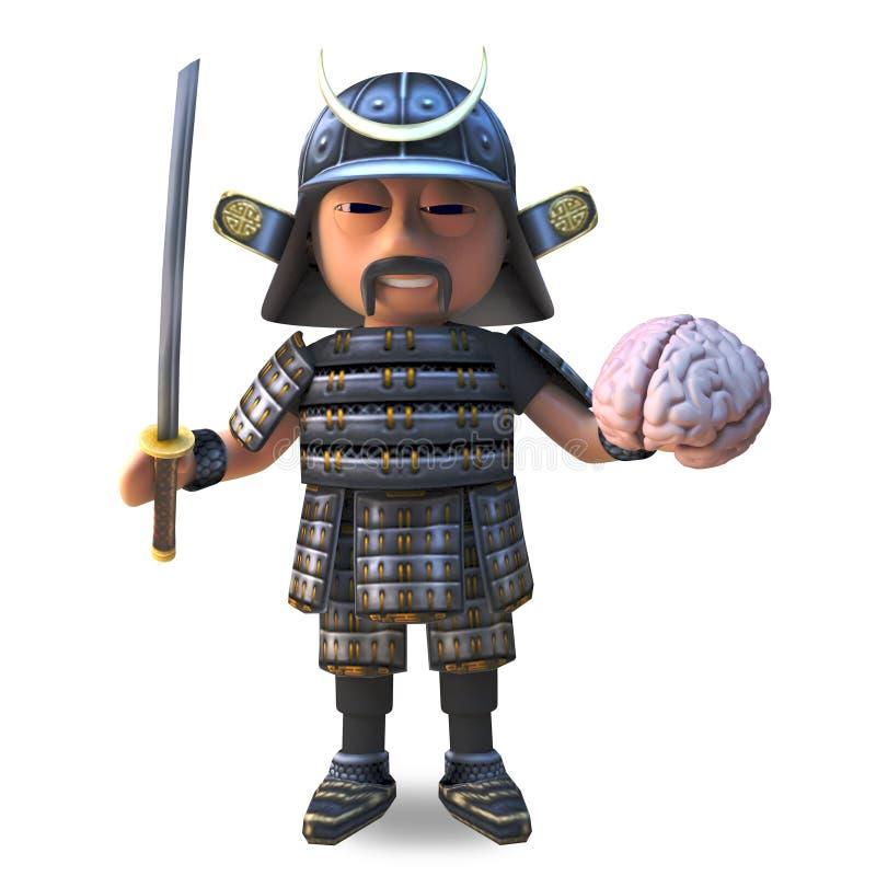 Koel Japanse samoeraienstrijder in 3d holding zijn katanazwaard en menselijke hersenen, 3d illustratie royalty-vrije illustratie
