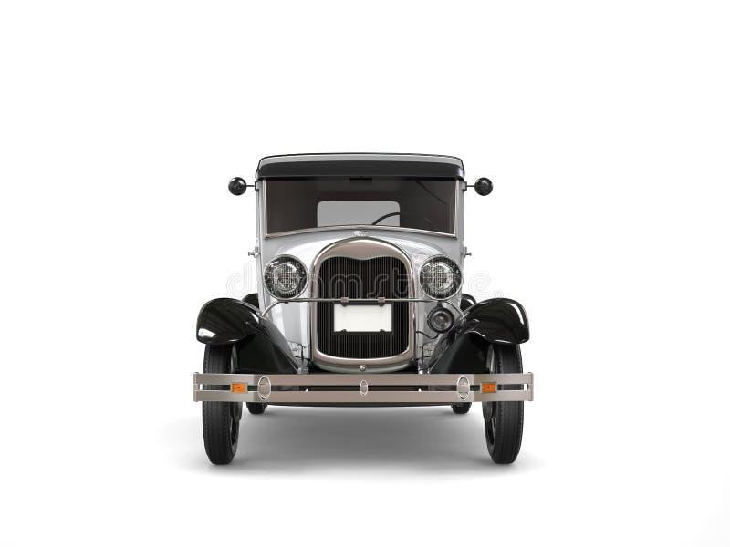 Koel oldtimer zilveren uitstekende auto - vooraanzicht stock illustratie