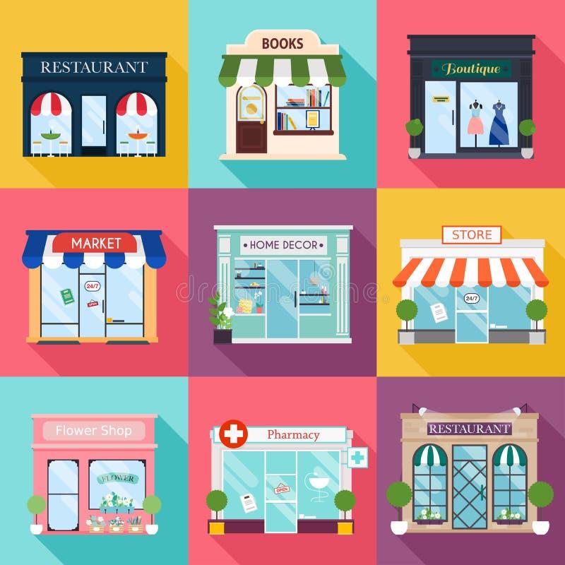 Koel reeks vector gedetailleerde vlakke ontwerprestaurants en winkels FA vector illustratie