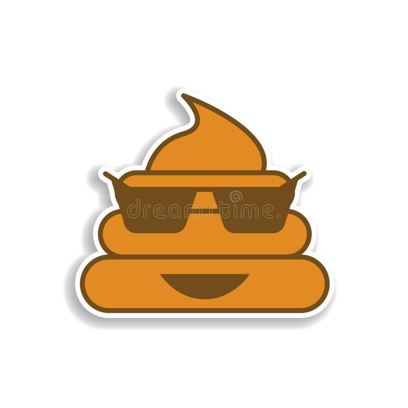 koel shit het gekleurde pictogram van de emojisticker Element van emoji voor mobiele concept en webtoepassingenillustratie stock illustratie
