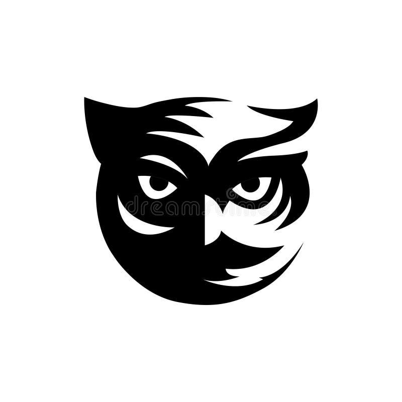 Koel zwart uil hoofdembleem stock illustratie
