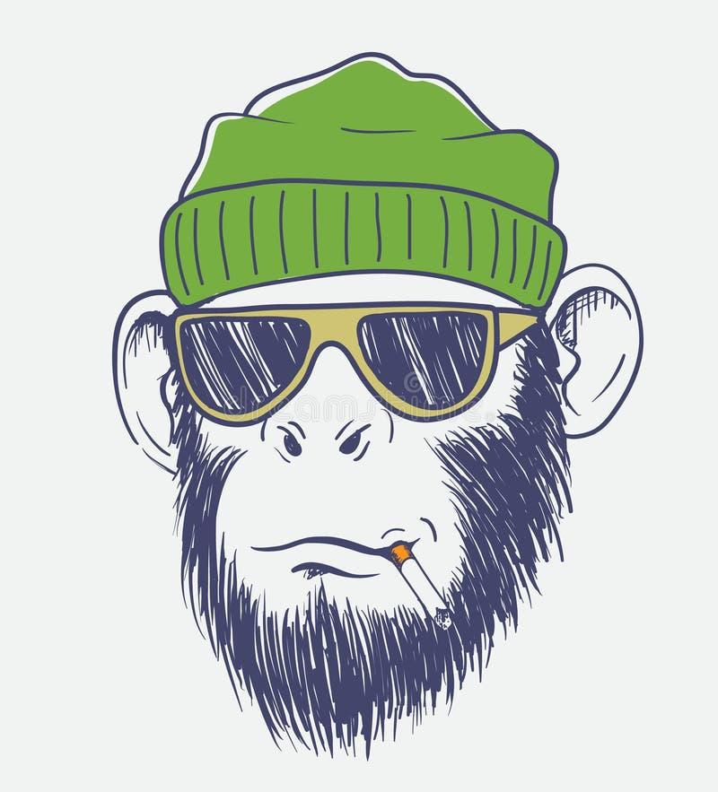 Koele aap die een sigaret roken vector illustratie