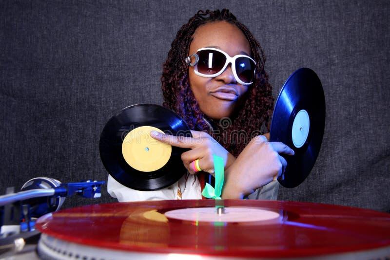 Koele afro Amerikaans DJ royalty-vrije stock afbeeldingen