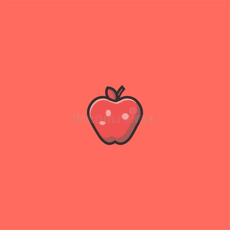 Koele Apple-embleemontwerp en illustratie symbooldan pictogram vectormalplaatje stock illustratie