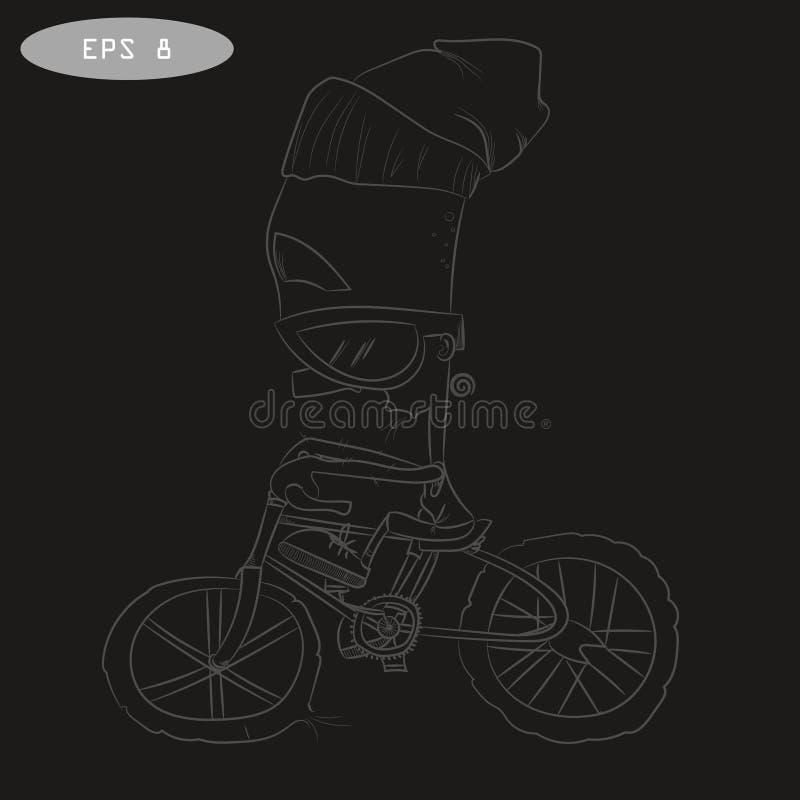 Koele beeldverhaalfietser op fiets met glas royalty-vrije illustratie