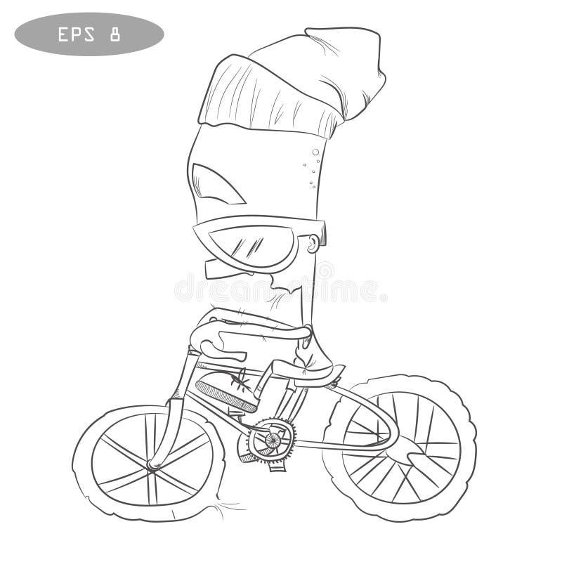Koele beeldverhaalfietser op fiets met glass2 royalty-vrije illustratie