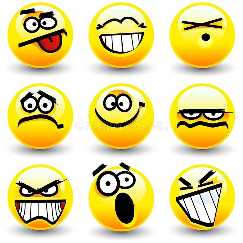 Koele beeldverhaalglimlachen, emoticons royalty-vrije illustratie