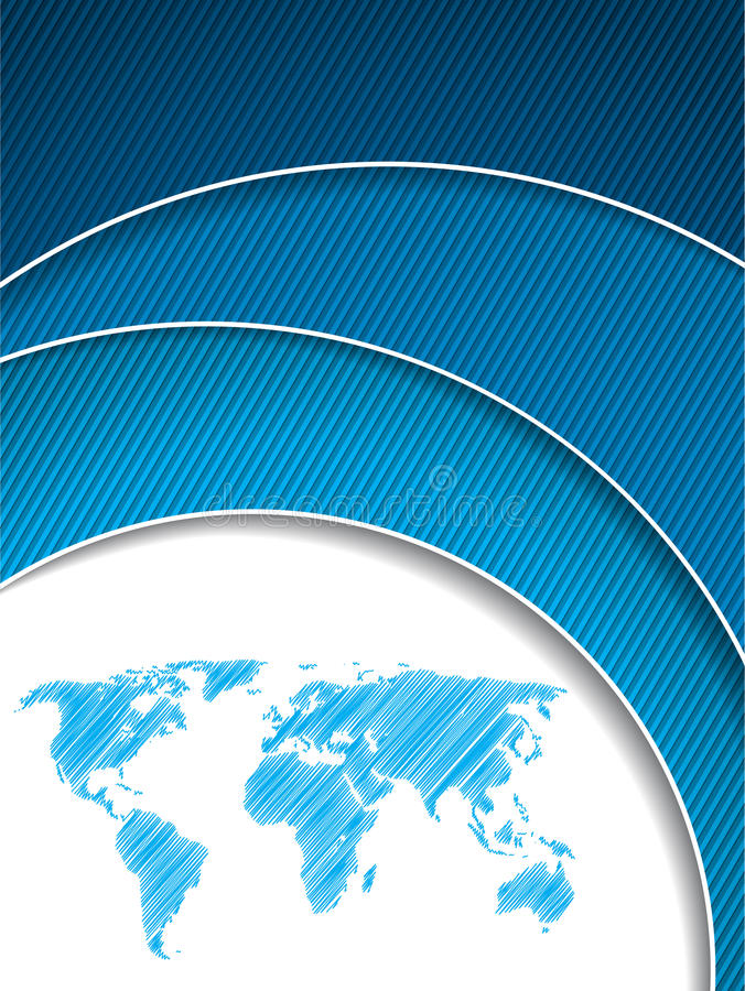 Koele blauwe bedrijfsbrochure met kaart stock illustratie