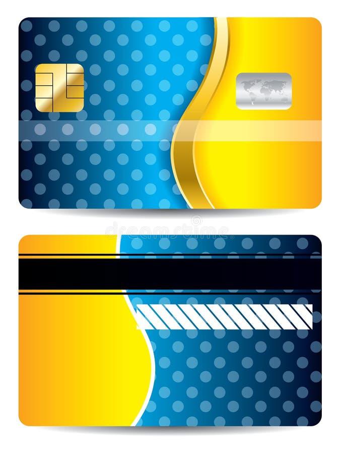Koele blauwe en oranje creditcard royalty-vrije illustratie