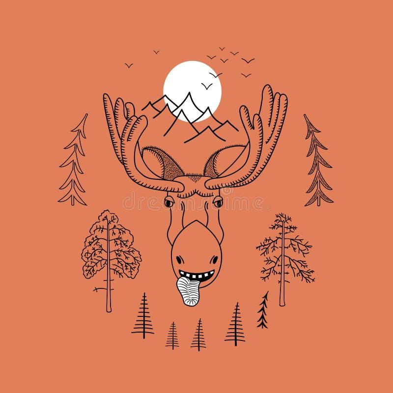 Koele elandenillustratie voor t-shirt vector illustratie