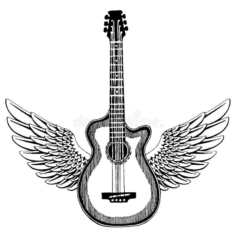 Koele Gitaar Rotsembleem voor muziekfestival Zwaar metalloverleg T-shirtdruk, affiche Muzikaal instrument kenteken royalty-vrije illustratie