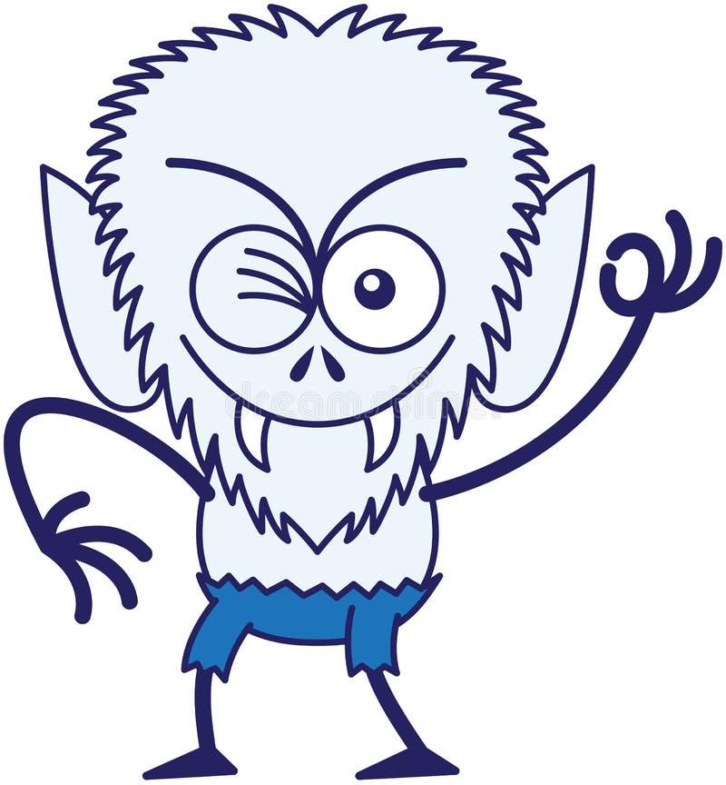 Koele Halloween-weerwolf die en een O.K. teken maken knipogen royalty-vrije illustratie