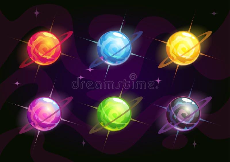 Koele heldere kleurrijke fantasieplaneten vector illustratie