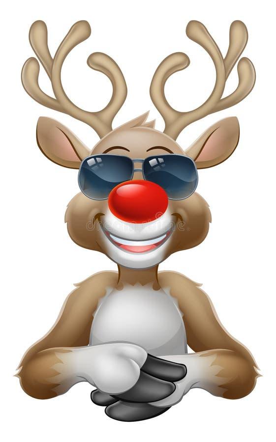 Koele het Beeldverhaalherten van het Kerstmisrendier in Zonnebril vector illustratie