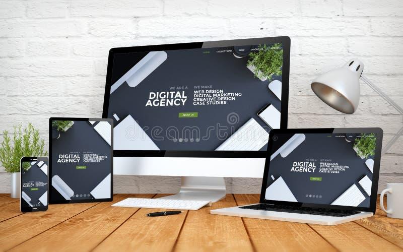 koele het schermmultidevices van het website ontvankelijke digitale agentschap royalty-vrije illustratie