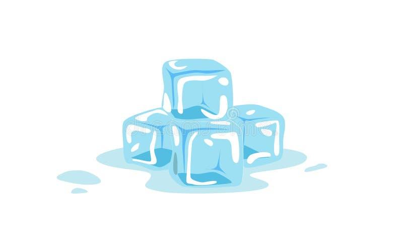 Koele ijsblokjes op witte achtergrond royalty-vrije illustratie
