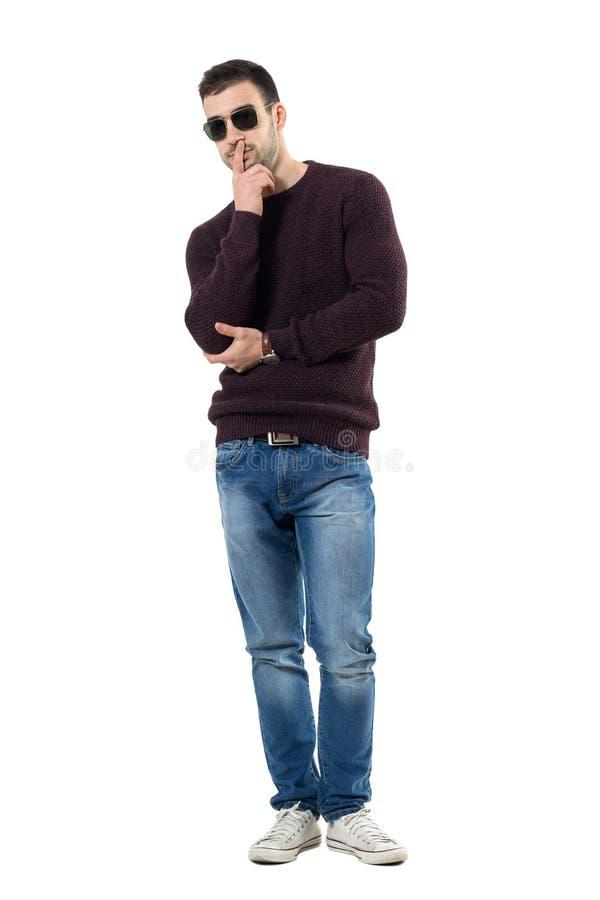 Koele jonge twijfelachtige mens sweater dragen en zonnebril die camera bekijken stock foto's