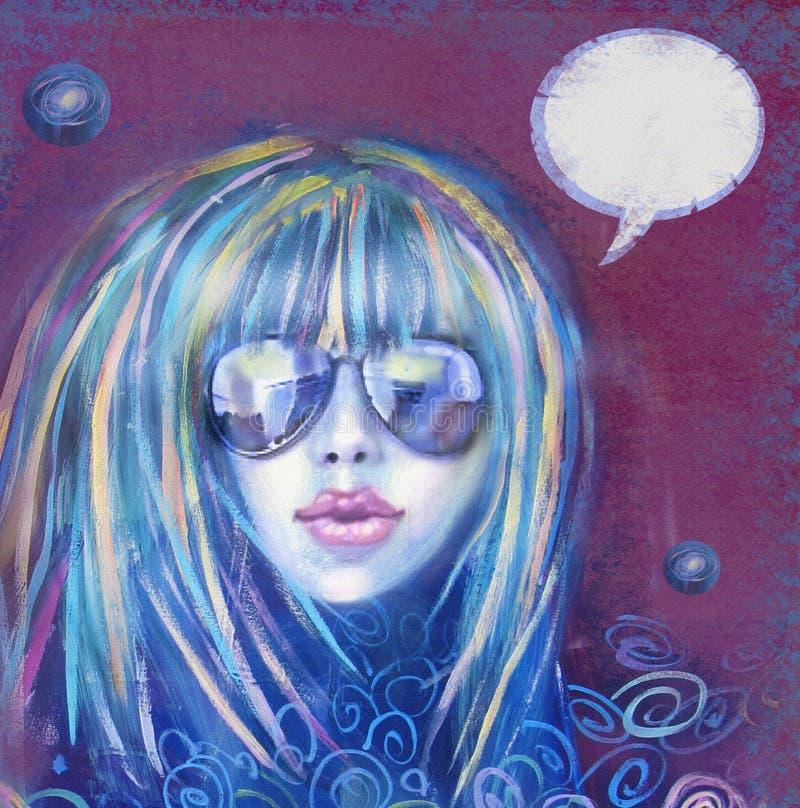 Koele maniervrouw in zonnebril Sexy meisje Het uitstekende etiket van de theetijd stock illustratie