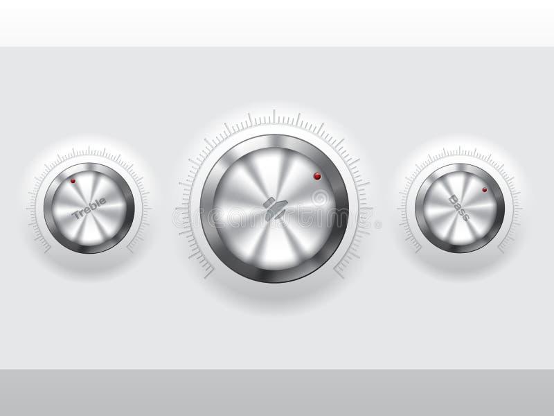 Koele metaalknoppen stock illustratie