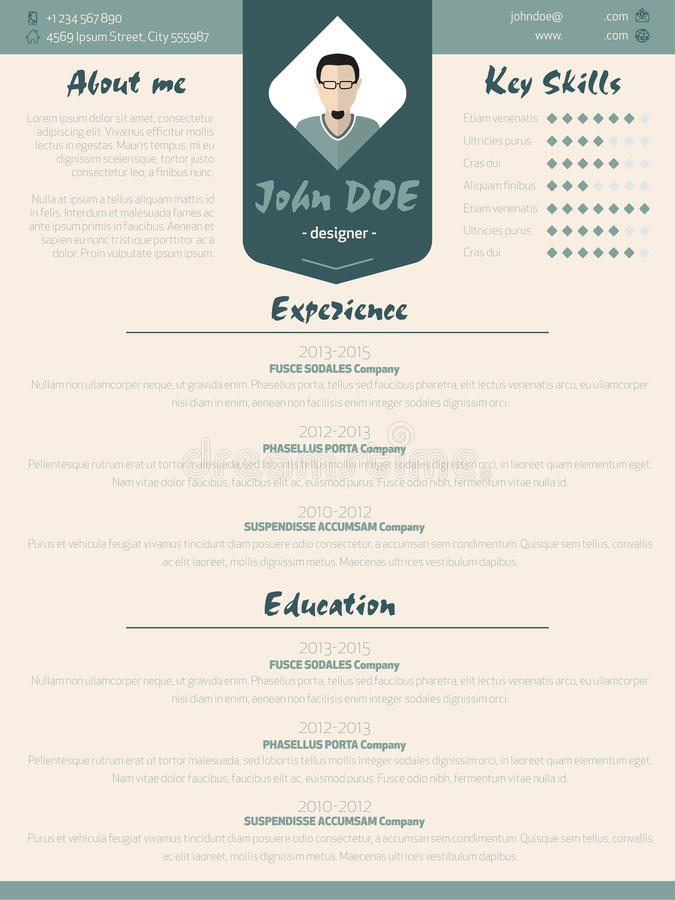 Koele nieuwe modern hervat curriculum vitaemalplaatje met ontwerp ele royalty-vrije illustratie