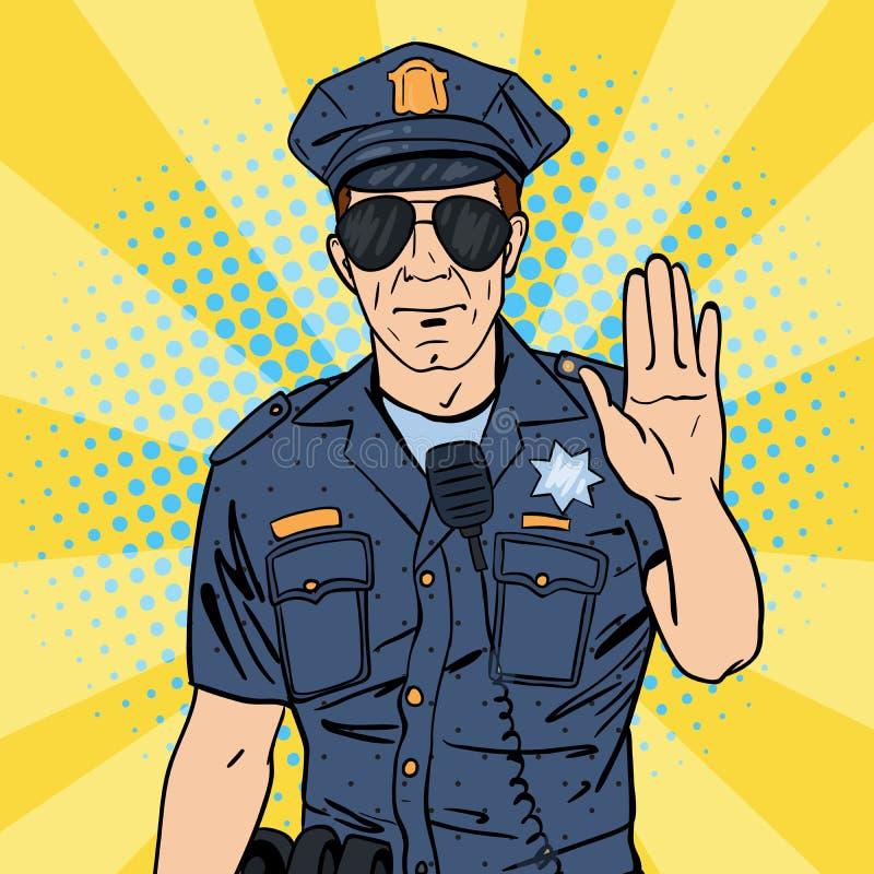 Koele politieagent Ernstige Politieman Pop-art stock illustratie