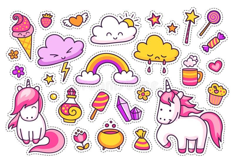 Koele stickersreeks beeldverhaalkarakters, wolken, regenboog, magische elementen royalty-vrije illustratie