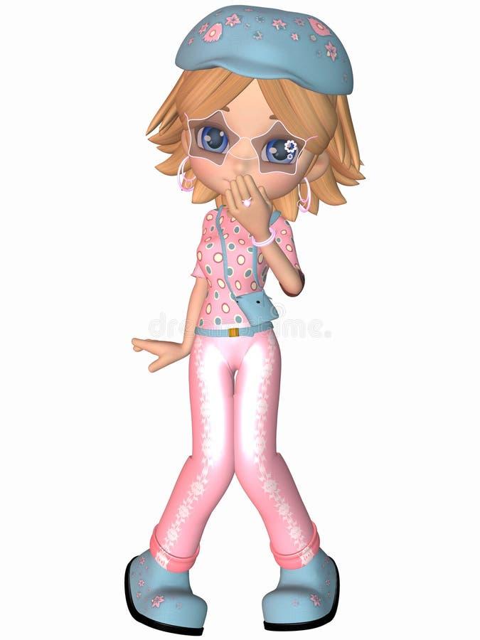 Koele Toon Girl royalty-vrije illustratie