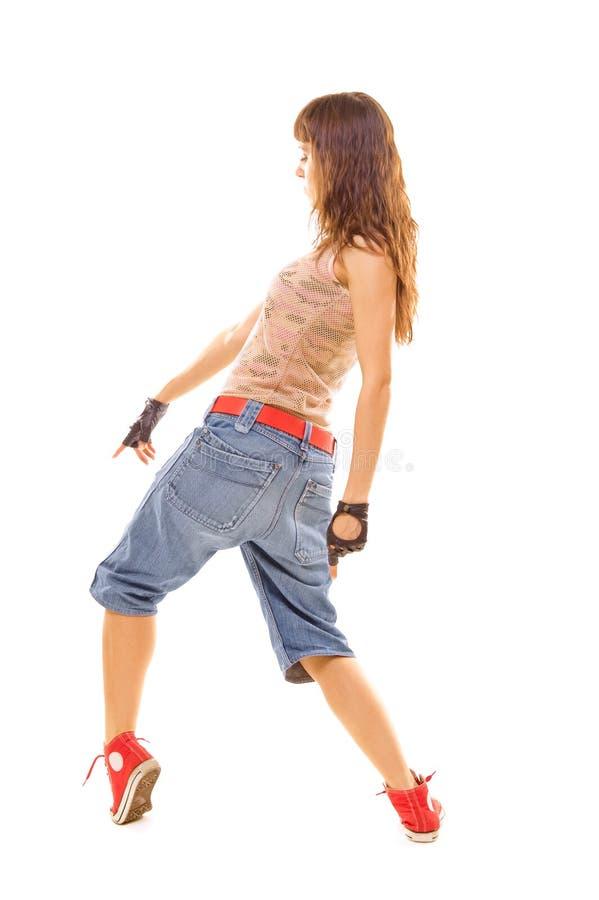 Koele vrouw die in dans draait stock afbeelding