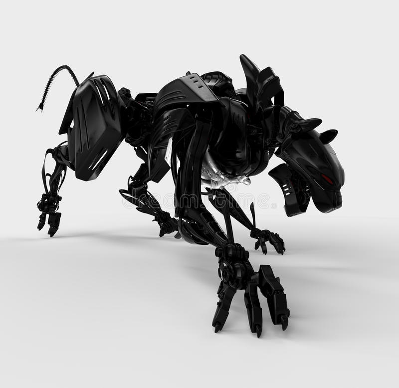 Koele zwarte agressieve panter vector illustratie